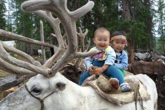 Маленькая Диана с братом с детства приучены сидеть верхом на оленях.